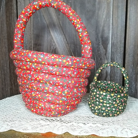 Handmade rope cord basket-Floral fabric-Set of 2